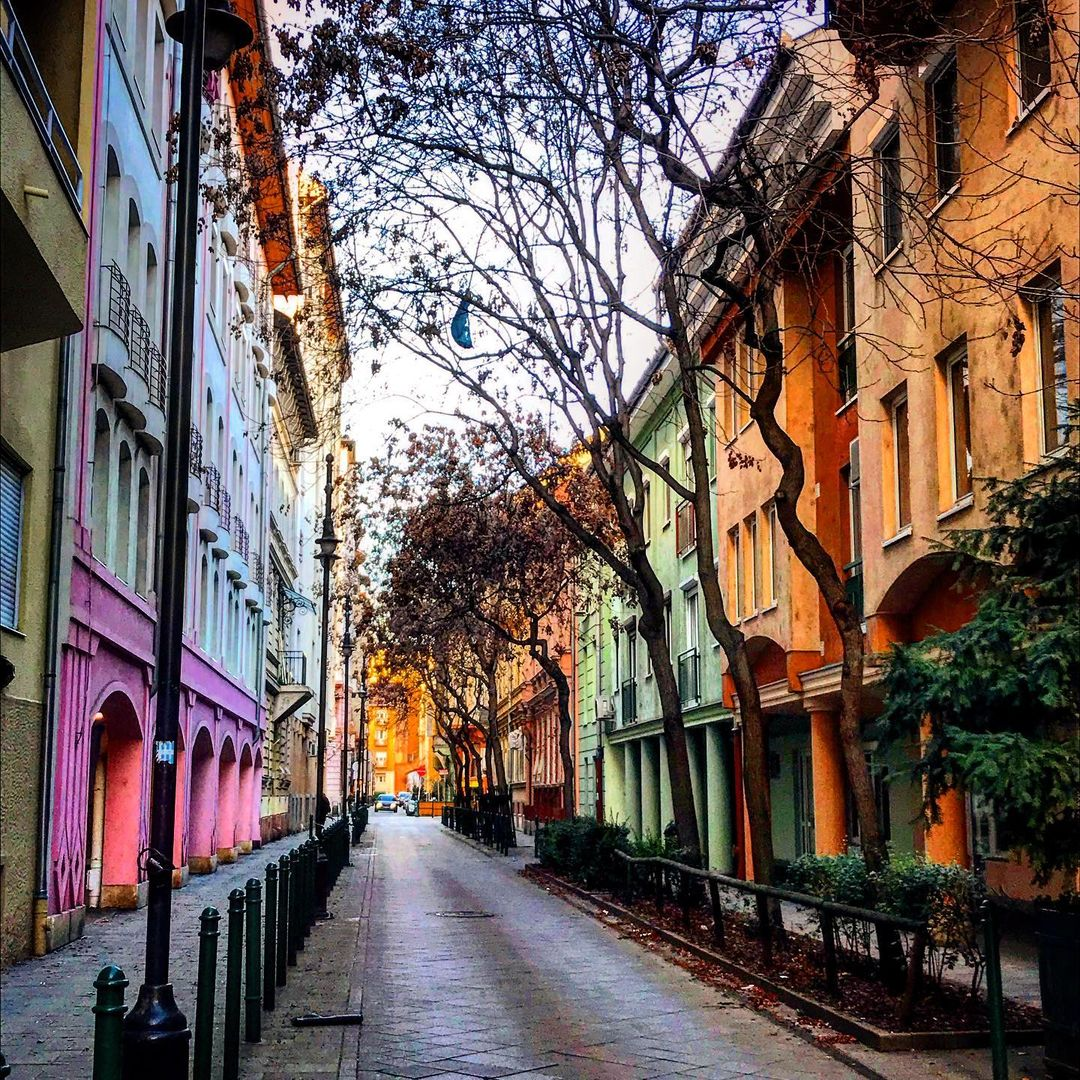 photo of street in Budapest with colorful architecture