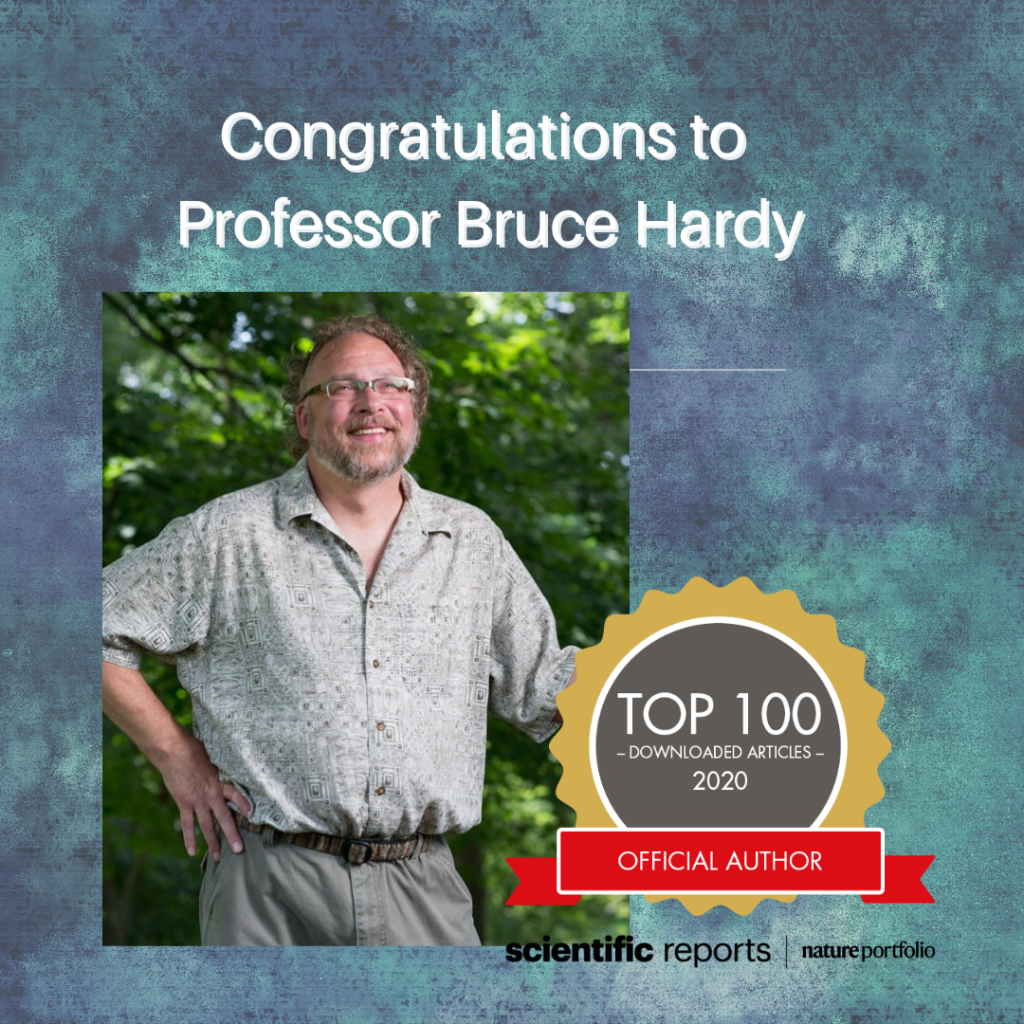 image show Bruce Hardy and Award Seal for Top 100 Downloaded articles official author 2020